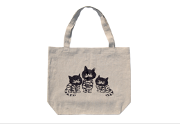 Linen Tote : Three Cats