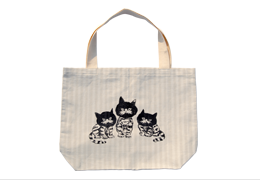 Stripe Tote : Three Cats